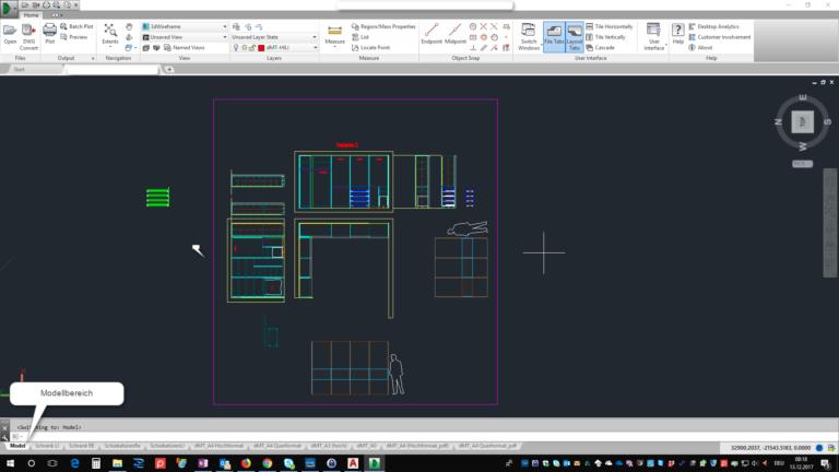 2D Zeichnung eines Schlafzimmers im Modellbereich