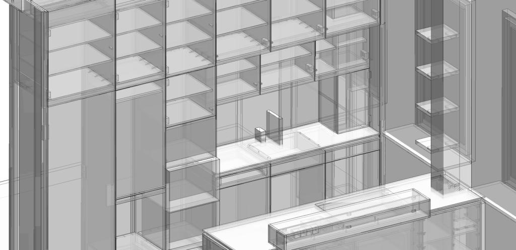 3D Konstruktion einer Küche in einer transparenten monochromen Ansicht