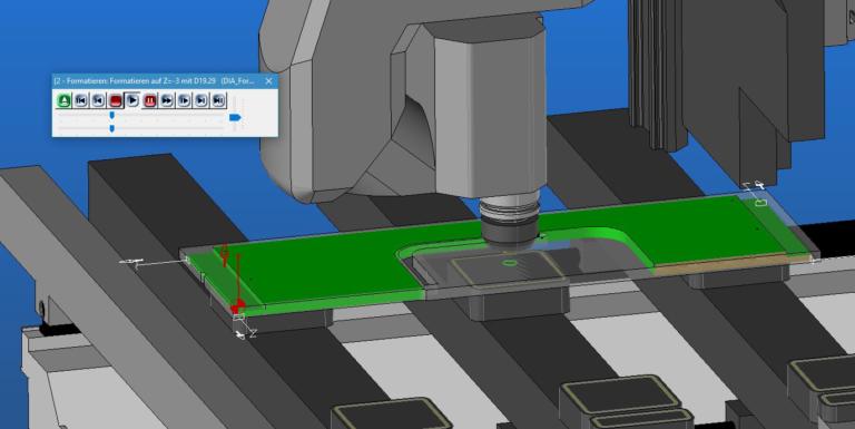 virtuelle CNC bei der BEarbeitung eines Bauteils