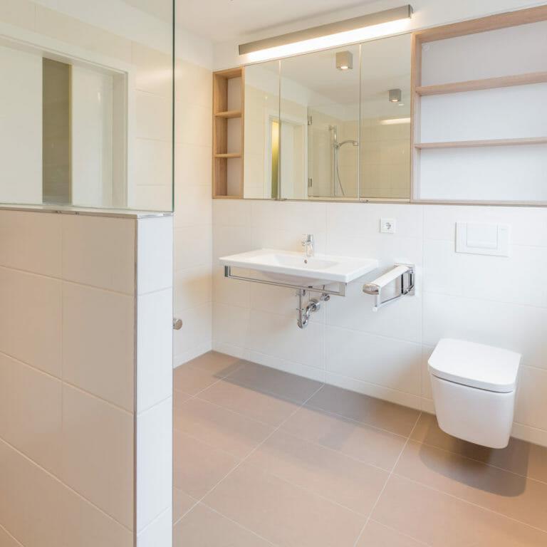 barrierefreies Waschbecken und WC, Spiegelschrank, Regale, Duschabtrennung